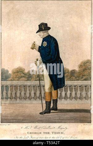 GEORGE III (1738-1820) stampa contemporanea che mostra il 74-anno vecchio re sulla terrazza del Buckingham Palace con una campana per attirare l'attenzione Immagini Stock