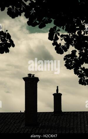 Silhouette di tetto, camino e albero della vecchia casa con scuri, misterioso e moody impostazione. Immagini Stock