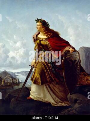Belle arti, Clasen, Lorenz (1812 - 1899), pittura, 'Germania auf der Wacht am Rhein' (Germania in guardia sul Reno), 1860, olio su tela, 220 x 159 cm, museo d'arte, Krefeld, artista del diritto d'autore non deve essere cancellata Immagini Stock