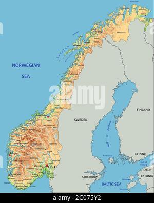 Cartina Geografica Norvegia Fisica.Mappa Fisica Della Norvegia Con Etichettatura Immagine E Vettoriale Alamy