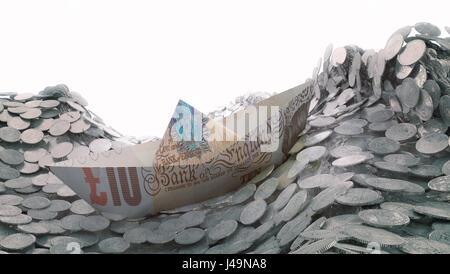 Una nave di carta realizzato al di fuori di un dieci pound banconota voce in un iceberg - 3d illustrazione Immagini Stock