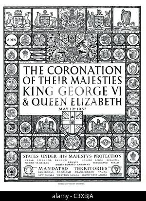 Dalla pagina ufficiale del programma di souvenir della incoronazione di Loro Maestà il Re Giorgio VI e la Regina Immagini Stock