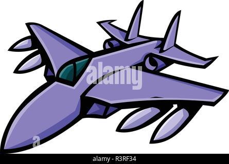 Icona di mascotte illustrazione della testa di un American fighter jet in pieno volo se visto dalla parte anteriore su sfondo isolato in stile retrò. Immagini Stock