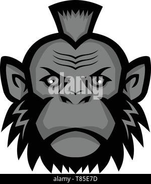 Icona di mascotte illustrazione della testa di uno scimpanzé che indossa un mohawk acconciatura o taglio di capelli se visto dalla parte anteriore su sfondo isolato in stile retrò. Immagini Stock