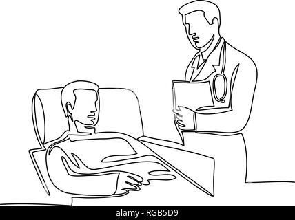 Linea continua illustrazione del medico chirurgo o medico con il paziente sul letto di ospedale fatto in stile monolinea in bianco e nero. Immagini Stock