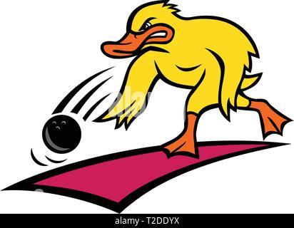 Lo stile del fumetto illustrazione di un bowler arrabbiati o anatra germano reale facendo rotolare una palla da bowling giù un legno o corsia sintetica visto dal lato in backgr isolato Immagini Stock