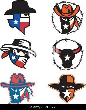 Icona di mascotte illustrazione della testa di un texano fuorilegge o e il bandito un Texas longhorn bull su sfondo isolato in stile retrò. Immagini Stock