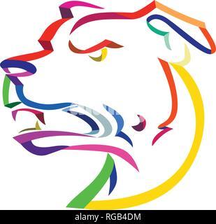Ricci stile Ribbon illustrazione della testa di un arrabbiato e aggressivo American Staffordshire Terrier o Amstaff, una di medie dimensioni, corto-rivestito non americano Immagini Stock