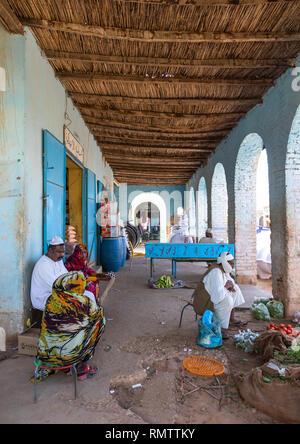 Ortaggi per la vendita nel vecchio mercato coloniale, Stato settentrionale, Karima, Sudan Immagini Stock