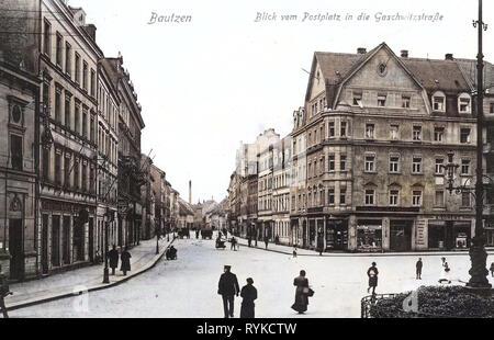 Postplatz (Bautzen), 1915, Landkreis Bautzen, Bautzen, Blick vom Postplatz in die Gaschwitzstraße, Germania Immagini Stock