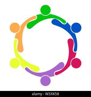 Il lavoro di squadra. Un gruppo di sei persone che formano un cerchio. Immagini Stock