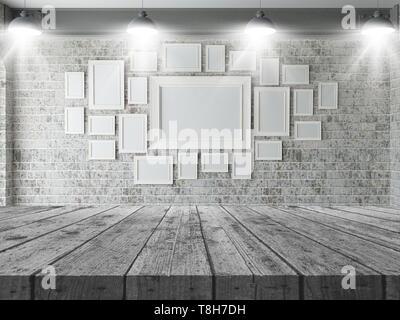 3D render di un tavolo di legno che guarda ad una parete del fustellato cornici Immagini Stock