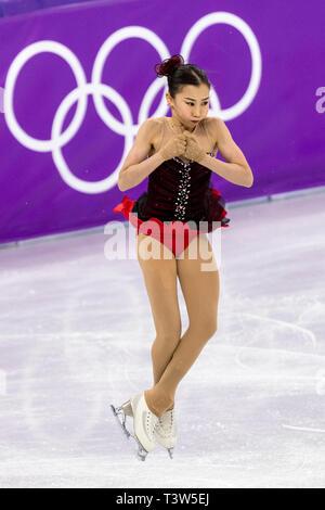 Elizabet Tursynbayeva (KAZ) competere nel pattinaggio di figura - Ladies' breve presso i Giochi Olimpici Invernali PyeongChang 2018 Immagini Stock