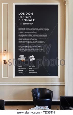 Segno di carattere informativo. London Design Biennale 2018, Londra, Regno Unito. Architetto: Vari , 2019. Immagini Stock