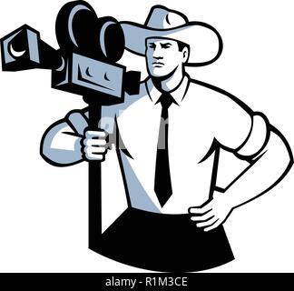 In stile retrò illustrazione di un cowboy cameraman tenendo un vintage film fotocamera con le mani sul hip viste dalla parte anteriore su sfondo isolato. Immagini Stock