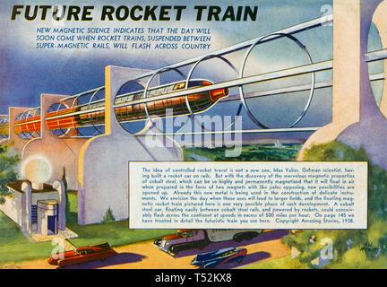Treno a razzo come previsto in un problema di 1938 della rivista americana storie sorprendenti Immagini Stock