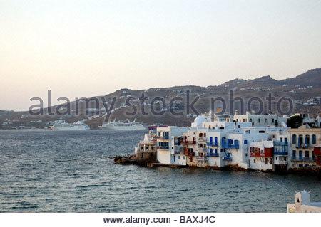 Una vista di Mykonos in Grecia Immagini Stock