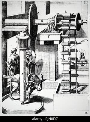 Illustrazione che mostra Esher Linoleum Company, Royal Mills, Esher, Surrey, Gran Bretagna, 1887. Immagini Stock