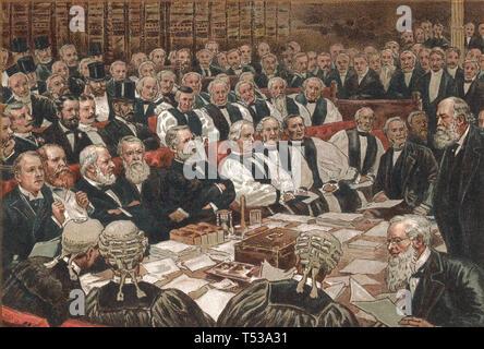 Marchese di Salisbury (1830-1903) a estrema destra durante un dibattito parlamentare su Irish Home regola circa 1900 Immagini Stock