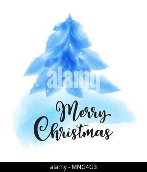 Blu fir acquerello su uno sfondo bianco. Natale biglietto di auguri. Illustrazione Vettoriale. Immagini Stock