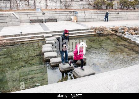 Seoul, Corea del Sud. Cheong-Gye Cheon-Stream Immagini Stock