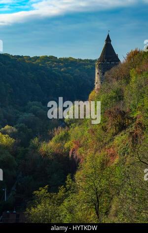 Una torre di vedetta sopra il canyon del fiume smotrych in kamianets-podilskyi, Ucraina occidentale. alberi stanno Immagini Stock