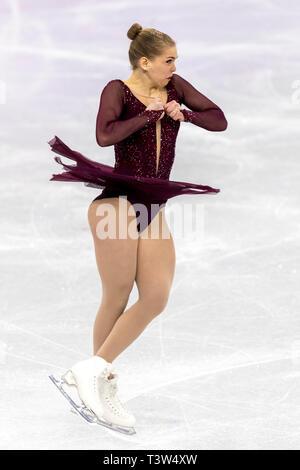 Nicole Rajičová (SVK) competere nel pattinaggio di figura - Ladies' breve presso i Giochi Olimpici Invernali PyeongChang 2018 Immagini Stock