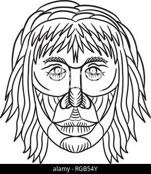 Disegno stile sketch illustrazione di un Homo habilis faccia, uno dei primi membri del genere Homo o precoce uomo primitivo se visto dalla parte anteriore su ON è Immagini Stock