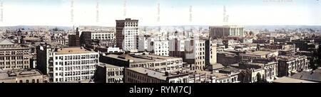 Panoramiche di Los Angeles, edifici a Los Angeles, 1903, California, Los Angeles, panorama di Los Angeles, Stati Uniti d'America Immagini Stock