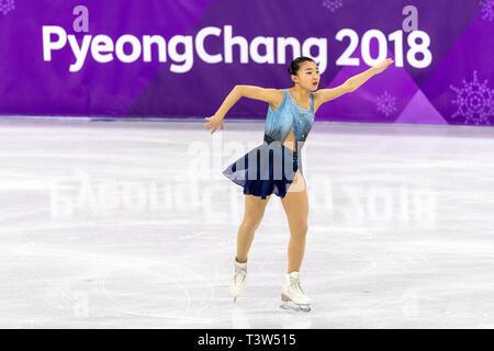 Kaori Sakamoto (JPN) competere nel pattinaggio di figura - Ladies' breve presso i Giochi Olimpici Invernali PyeongChang 2018 Immagini Stock
