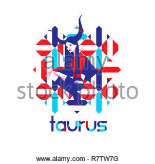Modello di moda nel modello geometrico come toro segno zodiacale Immagini Stock