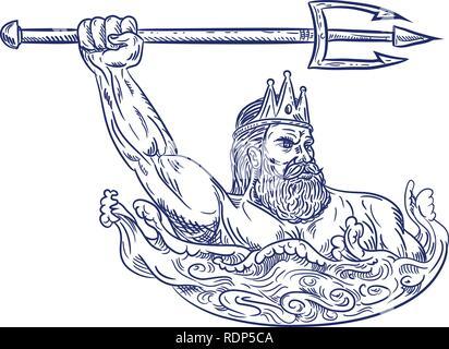 Schizzo di disegno illustrazione dello stile di Triton, un dio greco il messaggero del mare, figlio di Poseidone e Anfitrite, wielding trident sul mare con onde Immagini Stock
