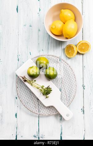 Ciotola di limoni con limes sul tagliere, still life, vista aerea Immagini Stock