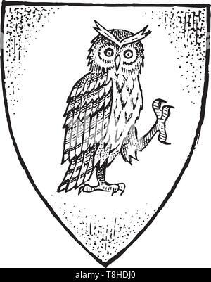 Per animale araldico in stile vintage. Inciso lo stemma con il gufo uccello. Emblemi medievale e il logo del regno fantasy. Immagini Stock