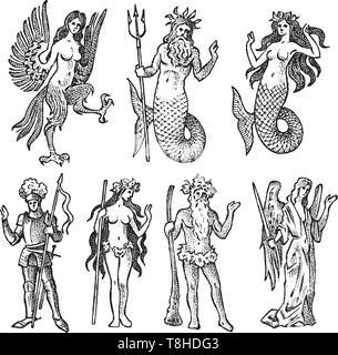 Mitica creatura di araldica in stile vintage. Inciso lo stemma con animali, uccelli, pesci, arpia, cavaliere. Emblemi medievale e il logo della Immagini Stock
