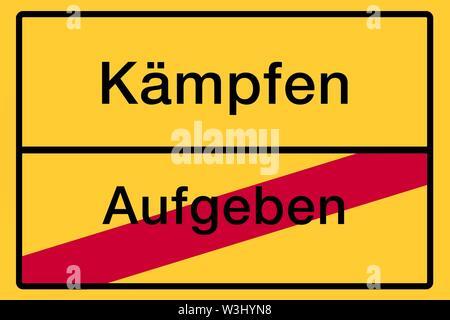 Luogo segno, fine del luogo, immagine simbolica, lotta o rinunciare, Germania Immagini Stock