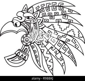 Schizzo di disegno illustrazione dello stile di un Aztec feathered copricapo, sfavillante e colorato pezzo del costume indossato dalla nobiltà azteca, elite e dei sacerdoti Immagini Stock