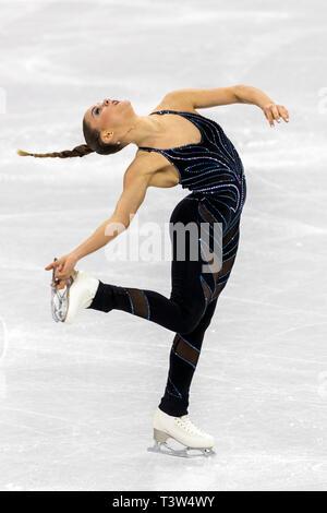 Loena Hendrickx (BEL) competere nel pattinaggio di figura - Ladies' breve presso i Giochi Olimpici Invernali PyeongChang 2018 Immagini Stock