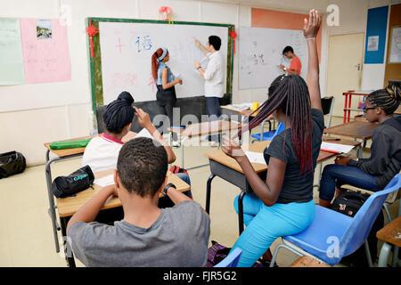 La lingua cinese la lezione di Lusaka Scuola Internazionale di Lusaka, capitale dello Zambia. Immagini Stock