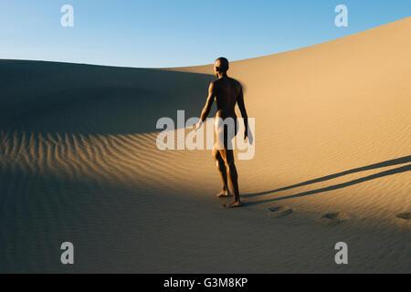 Nudo di donna che cammina nel deserto Immagini Stock