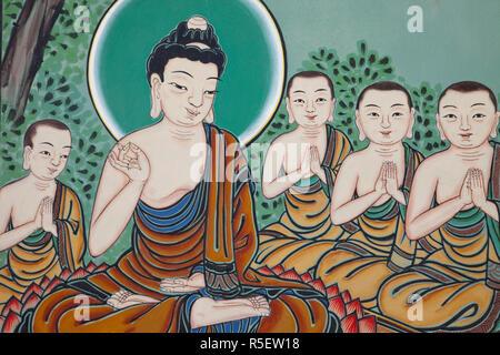 Corea del Sud, Seoul, il tempio Jogyesa, Daeungjeon o Hall del grande eroe, esterna pannelli raffiguranti la vita di Buddha Immagini Stock