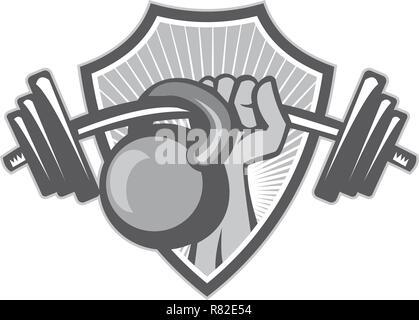 Illustrazione di un lato sollevamento pesi barbell kettlebell insieme all'interno della protezione crest fatto in bianco e nero e in scala di grigi in stile retrò. Immagini Stock