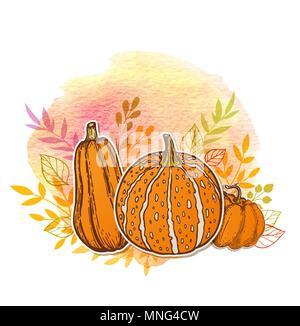 Autunno sfondo arancione con zucche e texture ad acquerello Immagini Stock