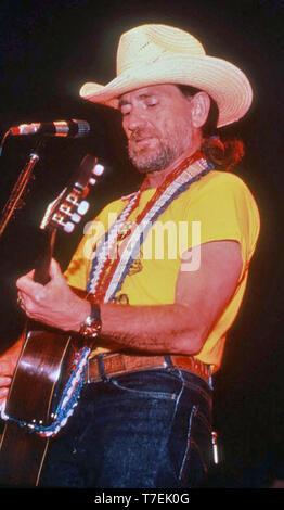 WILLIE NELSON Paese americano un musicista e un attore di pellicola circa 1980 Immagini Stock