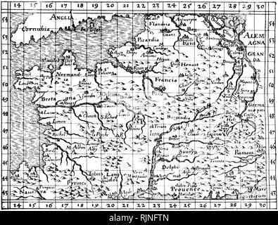 Una xilografia incisione raffigurante una mappa della Francia da Robert Fludd. Risalenti al XVII secolo Immagini Stock