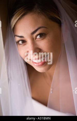 Ritratto di sposa indossa velo Immagini Stock