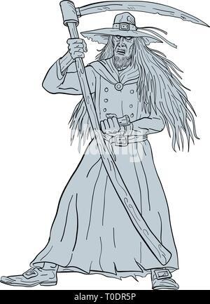 Schizzo di disegno illustrazione dello stile di Ankou, scudieri di morte, Custode Celtica di anime perdute e cimitero watcher nella mitologia bretone con hat e scyt Immagini Stock