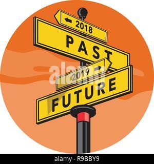 In stile retrò illustrazione di un cartello direzionale che mostra 2018 passato e futuro 2019 segno direzione impostata all'interno del cerchio su sfondo isolato. Immagini Stock