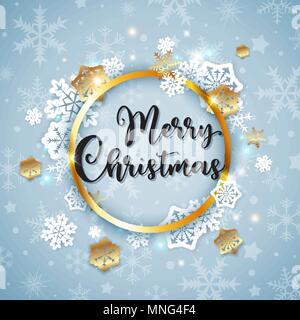 Vettore banner di Natale con il Libro bianco di fiocchi di neve e cornice dorata su sfondo blu. Buon Natale scritte. Immagini Stock