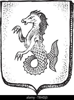 Per animale araldico in stile vintage. Inciso lo stemma con pesce cavallo, mitica creatura. Emblemi medievale e il logo del regno fantasy. Immagini Stock